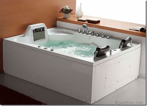 Luxor hydro massage bathtub with 14-inch LCD video screen